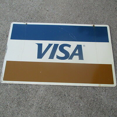 "Vintage Double Sided Metal VISA Sign 25"" x 15 1/2"""
