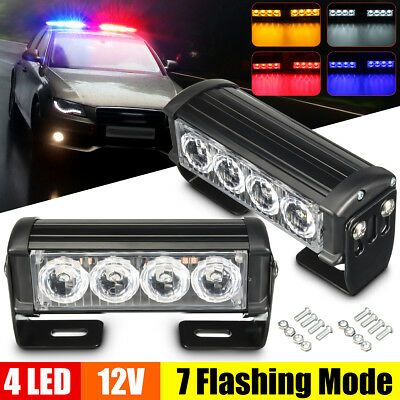 2x 12V 4 LED Recovery Strobe Lamp Car Truck Flashing Emergency Grille Bar Light