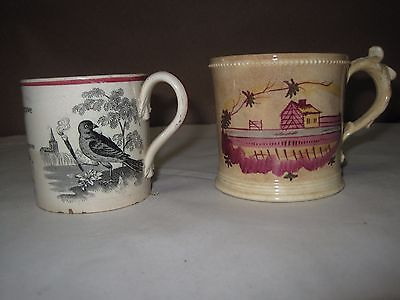Two Antique Staffordshire Childs' Mugs