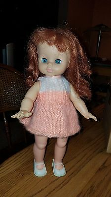"ADORABLE Vtg 1967 HORSMAN 13"" Doll w/Bright Blue Sleep Eyes & Outfit w/Shoes!"