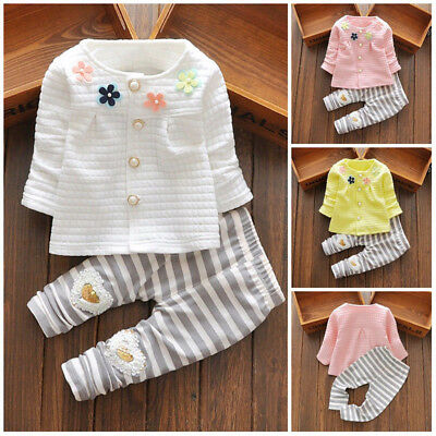 Newborn Toddler Floral Baby Girls Long Sleeve Cardigan+Pants Outfits Clothes Set