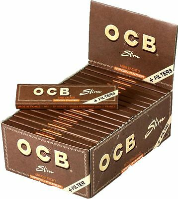 OCB Brown Kingsize Slim Virgin Unbleached Rolling Paper & Filters (Papers +Tips)