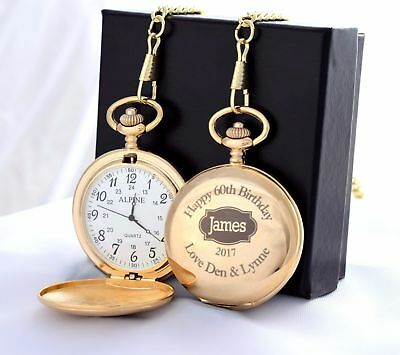 Engraved GOLD BIRTHDAY Pocket Watch Gift Dad/Grandad/50th/60th/65th/70th/80th