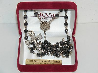 """20"""" Sterling silver crucifix rosary ornate Sacred Heart of Jesus hematite beads"""