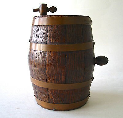 "Vintage Wooden Wine Barrel, Oak Cask, 8"" high, L.Deschamps, Made In France"