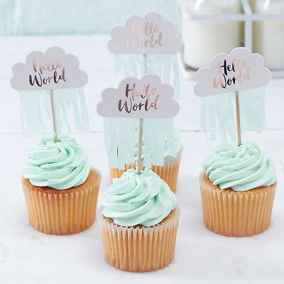 HELLO WORLD BABY SHOWER PICKS WITH TASSELS x 10 Gender Reveal Rose Gold Mint