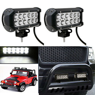 """2x 7"""" INCH 36W LED WORK Light Bar Spot Fit OFFROAD SUV Boat TRUCK ATV Jeep Ford"""