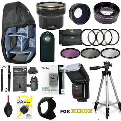 Ultimate Pro Accessory For Nikon D3400 Flash/tripod/wide Angle/zoom Lens/fisheye