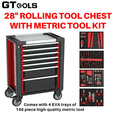 "7 Drawer Tool Chest Rolling Tool Trolley Work Station with Metric Tool Kit (28"")"