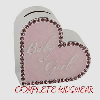 Baby Girls Pink Heart Shaped Bank Money Box Christening New Baby Gift Idea