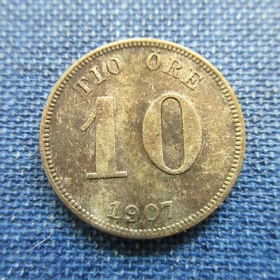 Sweden 10 Tio Ore Silver, 1907  Km#774 - One Year Type