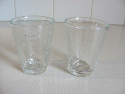 Two Vintage Glass Measuring Glasses
