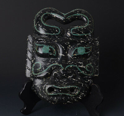 Chinese QiJia Style Turquoise Inlaid Sacrificial Ceremony Big Jade Mask-JR11010