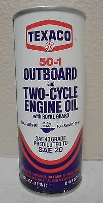 VINTAGE TEXACO OIL CAN EMPTY Poptop Outboard Motor 2 Cycle 16 oz Gas Oil Display