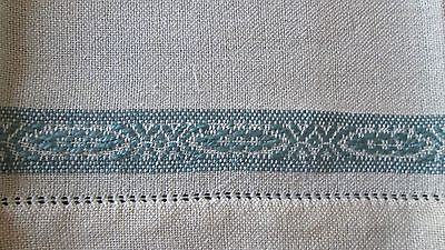 4 antique/vintage linen napkins w lovely hand-woven blue borders, 11x13.5""