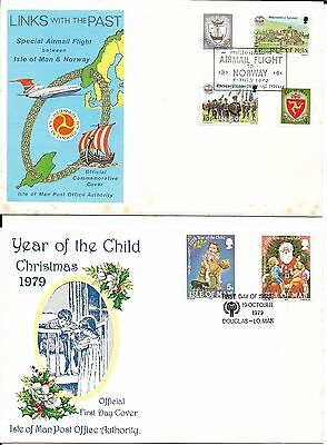 8 Isle of Man First Day Covers, 1978-79