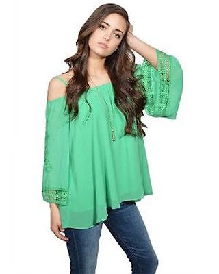 cd27d31ad2e37 VAVA BY JOY Han Poppy Cold Shoulder Top Chartreuse Green Lined Poly ...