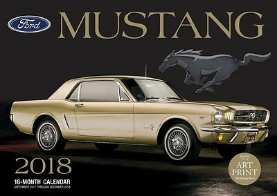"""2018 Ford Mustang 16 month wall calendar 17""""x12"""" Sep 2017 to Dec 2018 Motorbooks"""