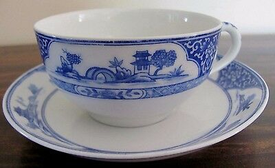 NIPPON Blue & White cup & Saucer Chinese Royal Sometuke