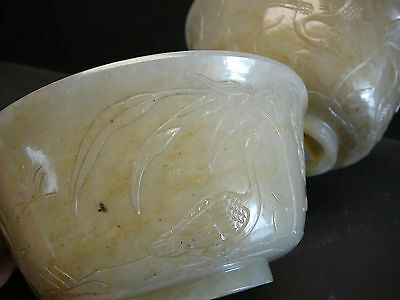 Magnificent & important large pair of well carved celadon white jade bowls 18thC