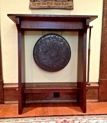 Arts & Crafts Mission Gong in Quarter Sawn Oak Stand Stickley Audi & Co. reissue