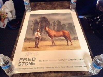 """Fred Stone """"The Final Thunder Man o War""""   Horse Racing Poster Signed"""