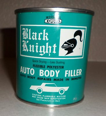 Vintage 70s Black Knight Auto Body Filler Paint can Hot Rod Custom Gas Oil NOS