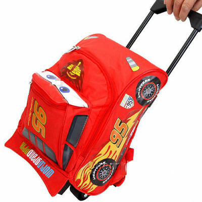 """Cars Mcqueen Rolling Bag  3D Shape  Luggage Travel Trolley Roller Bag -Small 12"""""""
