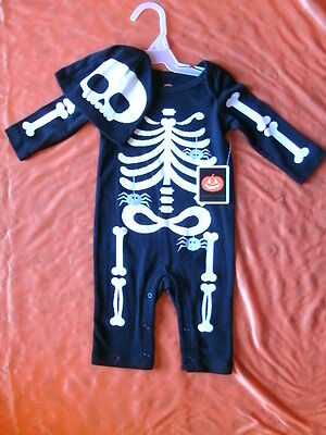 BABY CLOTHES DRESS UP COSTUME *SKELETON OUTFIT* infant 0-3 months NEW WITH TAG