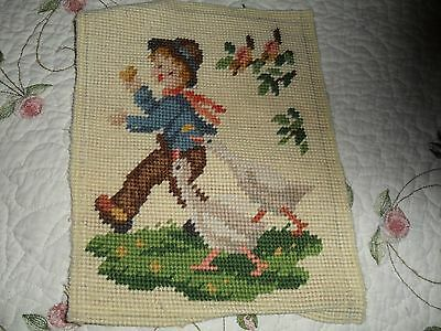Antique/vtg Needlepoint 'goose Boy'  Picture Tapestry - Reduced Shipping