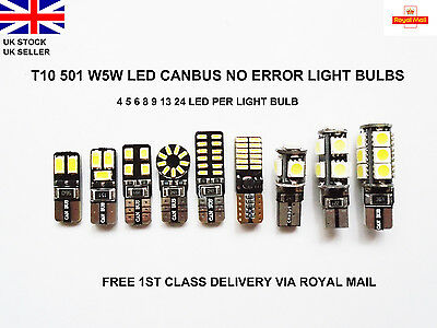 T10 Car Bulbs 4-24 Led Error Free Canbus Smd Xenon White W5W 501 Side Light Bulb