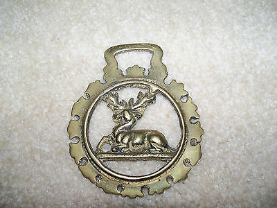 Vintage Horse Harness Brass Medallion Bridle Ornament Reindeer