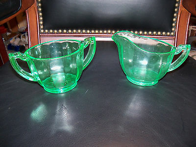 Vaseline Depression Glass CREAMER and SUGAR Bowl Green VINTAGE