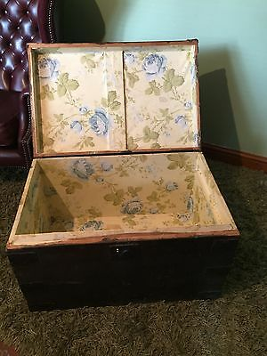 Antique Pine Chest Blanket Box Coffee Table Trunk