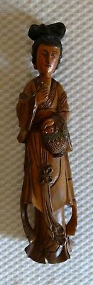 "Japanese Carved Wood Painted Figure 15"" tall"