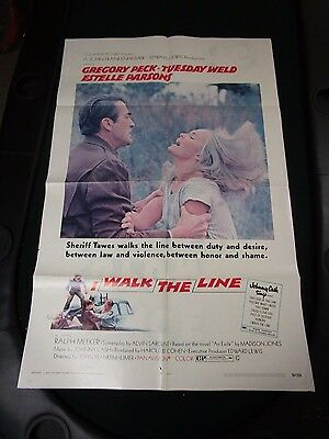Vintage 1 sheet 27x41 Movie Poster I Walk the Line 1970 Gregory Peck