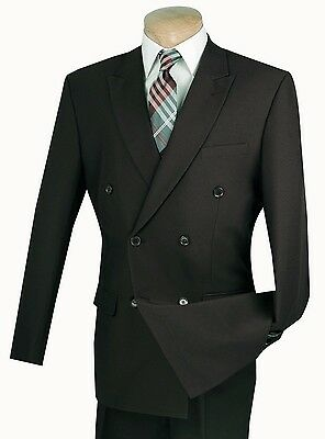 Men's Black Double Breasted 6x2 Button Classic Fit Polyester Suit NEW