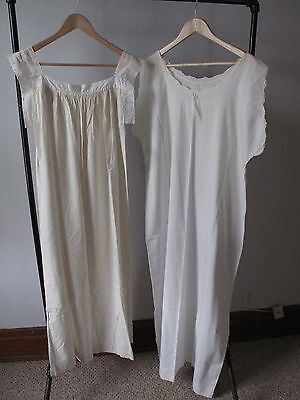 Lot of 2 - Antique Vintage 1900 Nightgowns - Cotton