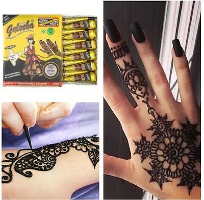 3 Pure Black Henna Indian Arabic Henna Mehndi Tattoo Cones +Quick Dry +Fast Post