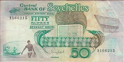 Seychelles Banknote P# 34  50 Rupees Very Fine Usa Seller