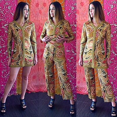 Vintage 70s Psychedelic Metallic Pant Suit Nelly De Grab Brocade Gold Party