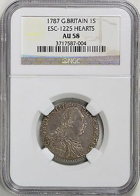Great Britain 1787 Silver Shilling ESC-1225 Hearts NGC AU-58