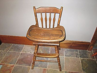 VTG Jenny Lind Style Wooden Highchair Wood High Chair Tray Baby oak hill DISPLAY