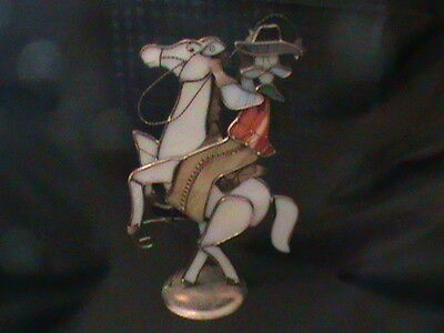 Stained Glass and Metal Cowboy & Horse Candle Holder EXCELLENT