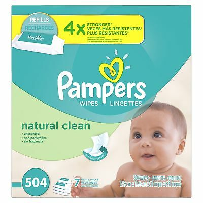 Pampers Baby Wipes Natural Clean (Unscented) 7X Refill 504 Diaper Wipes NEW