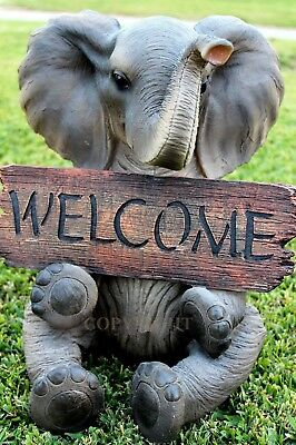 """Large 15"""" Height Elephant Pachy Welcome Sign Figurine Garden Home Patio Resin"""