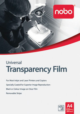 """New"" TRANSPARENCY FILM NOBO A4 INKJET HP UF0025 PK25(PKT) Free shipping"