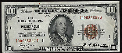 FR 1890-I 1929 $100 FEDERAL RESERVE BANK NOTE MINNEAPOLIS Extremely Fine (XF)