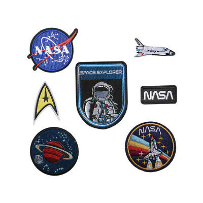 NASA Iron / Sew On Embroidered Patch Applique Embroidery Motif Space explorers
