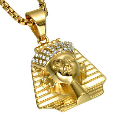 """Mens Gold Plated Egyptian Pharaoh Hip-Hop Pendant 24"""" Rope Chain Necklace"""